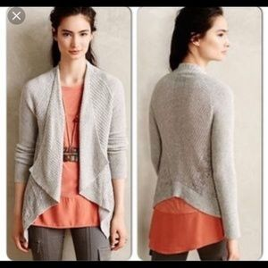 Anthropologie Moth Draped Pointelle Cardigan L New